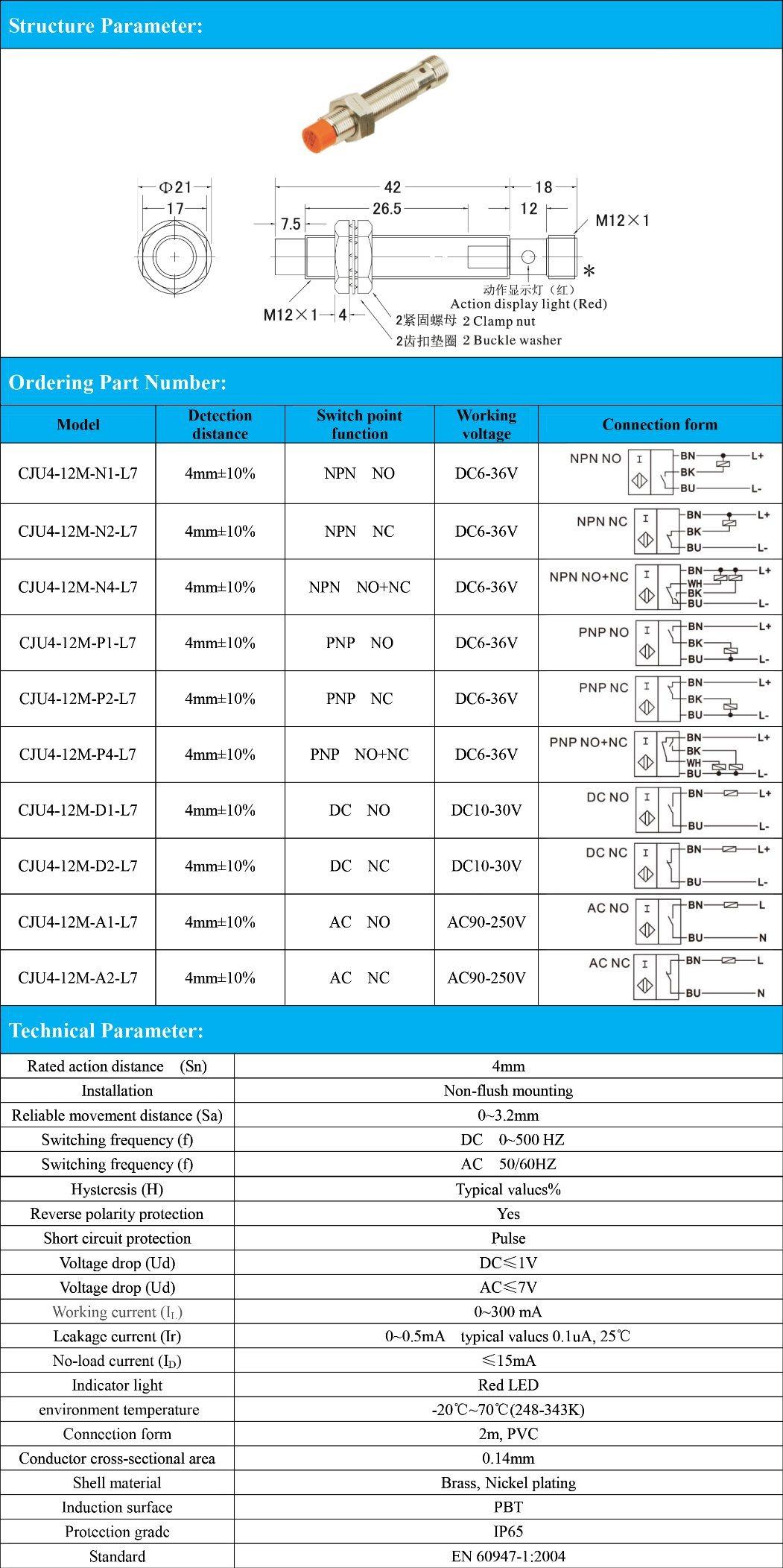 China M12 Inductive Proximity Sensor Switch Detection Distance 4mm 6 Npn Type Dc Pnp 36vdc No Nc