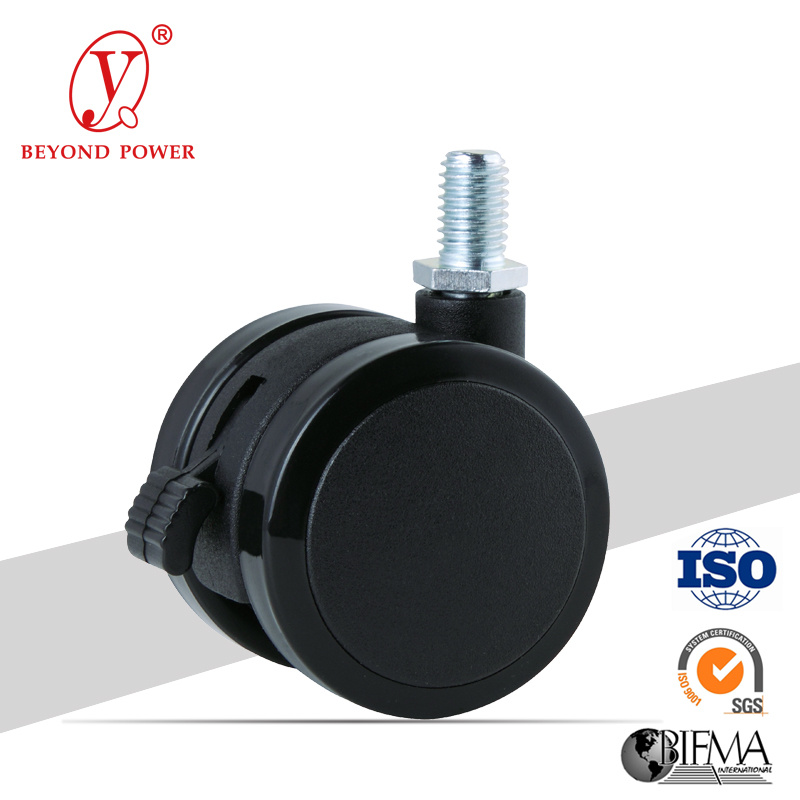 50mm Black Color Office Chair PVC Ball Casters Caster with Brake, Cabinet Screw Caster, Castor