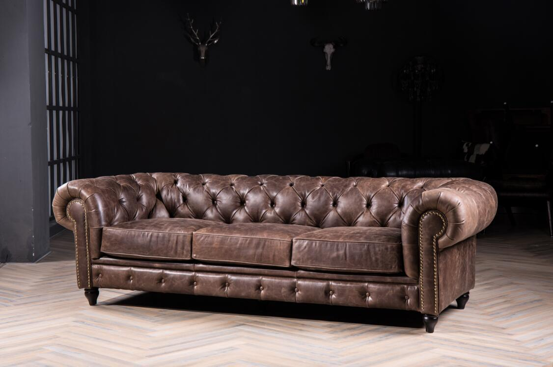 China Modern Chesterfield Sofa With Vintage Clical Genuine Leather