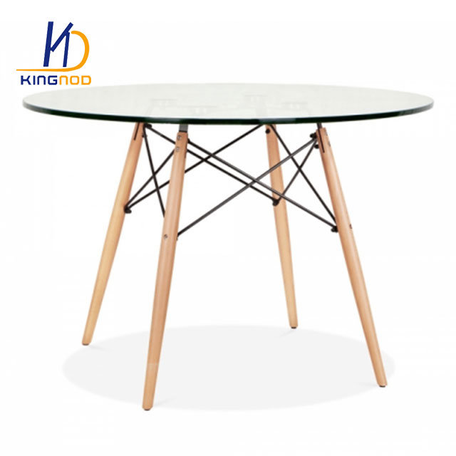 Hot Item Replica Eames Round 120cm Glass Dining Table Metal And Beech Wooden Leg