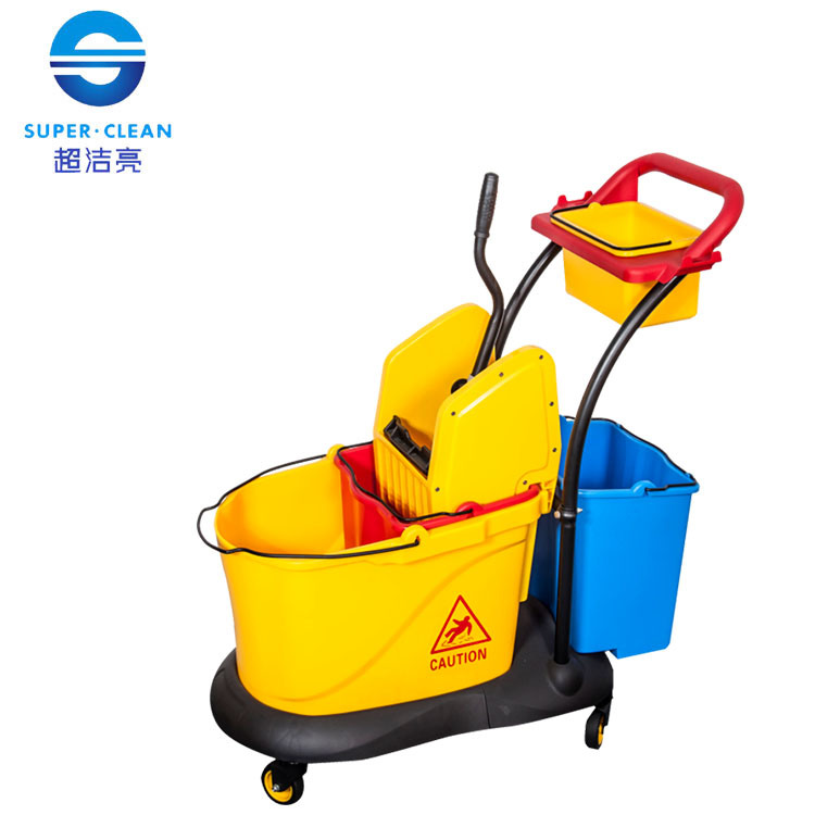 China Down Press Double Mop Wringer Trolley For Hotel B