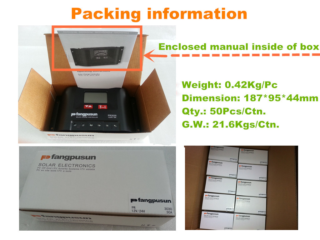 China Pr3030 Fangpusun Solar Charge Controller 30a 12v 24v Photos Details About Regulator Pwm 30amp