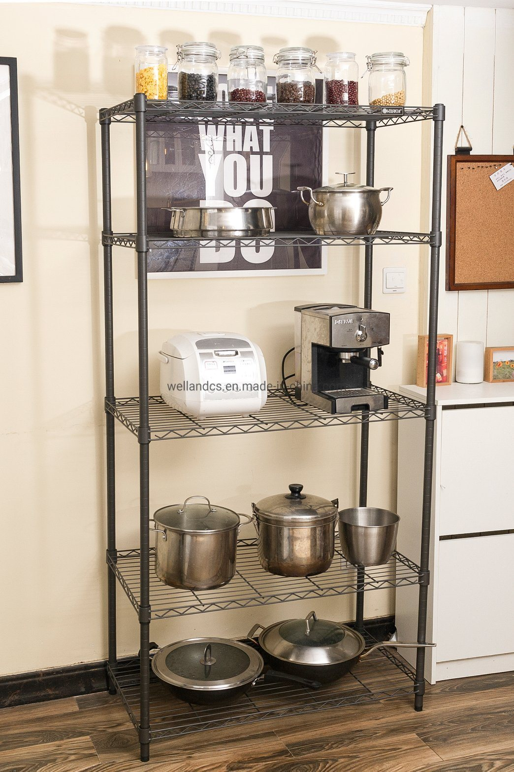 [Hot Item] Multifunction 5 Tiers Cheap DIY Open Black Epoxy Metal Kitchen  Pantry Storage Wire Rack