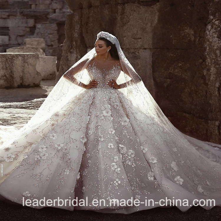 China Lace Bridal Ball Gown Long Sleeves Beaded Arabic Wedding