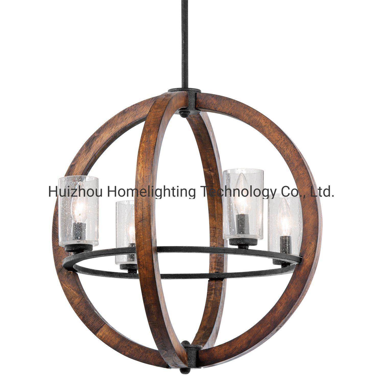 China Jlc 3016 Vintage Round 4 Light Chandelier Wood Hanging Pendant Light China Vintage Lighting Industrial Pendant Lamp