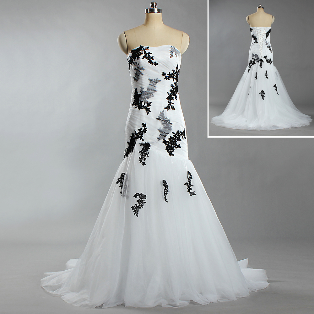 [Hot Item] W302 Designer Strapless Lace Tulle White and Black Wedding  Dresses for Bride 2019