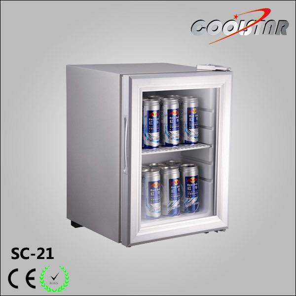 China Small Capacity Single Glass Door Mini Display Beverage Cooler