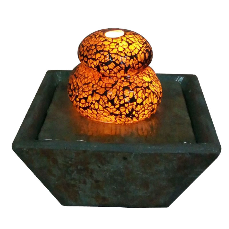 6 Inch Slate & Glass Indoor Tabletop Fountain