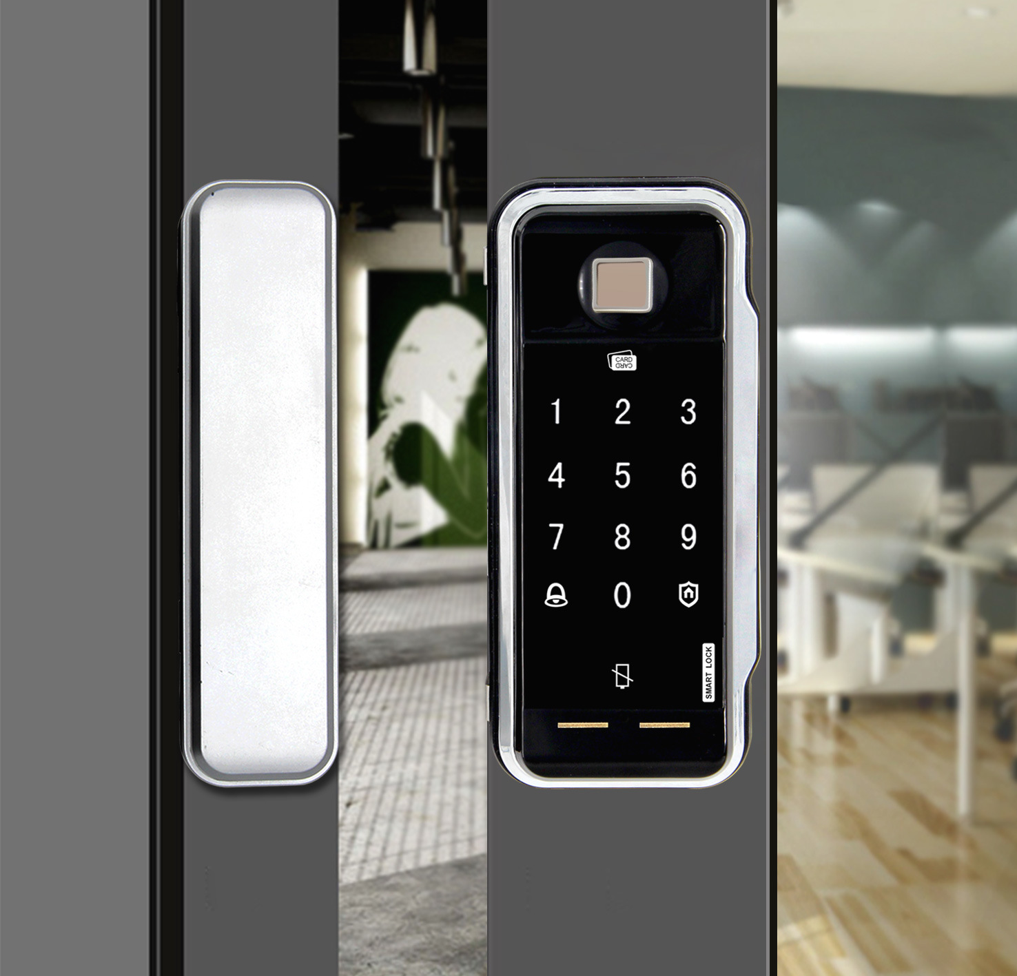China Digital Glass Door Lock With Programmable System 2018 New Keypad