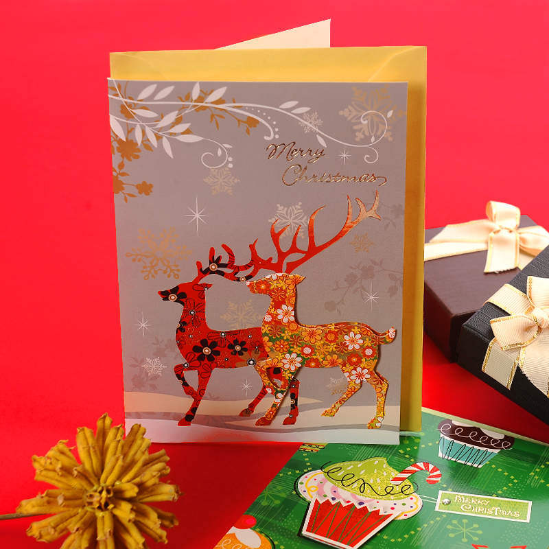 Christmas Wishes Card.Hot Item Luxury 250gsm Coated Paper 3d Handmade Gold Stamping Christmas Greeting Cards Designs For Xmas Wishes
