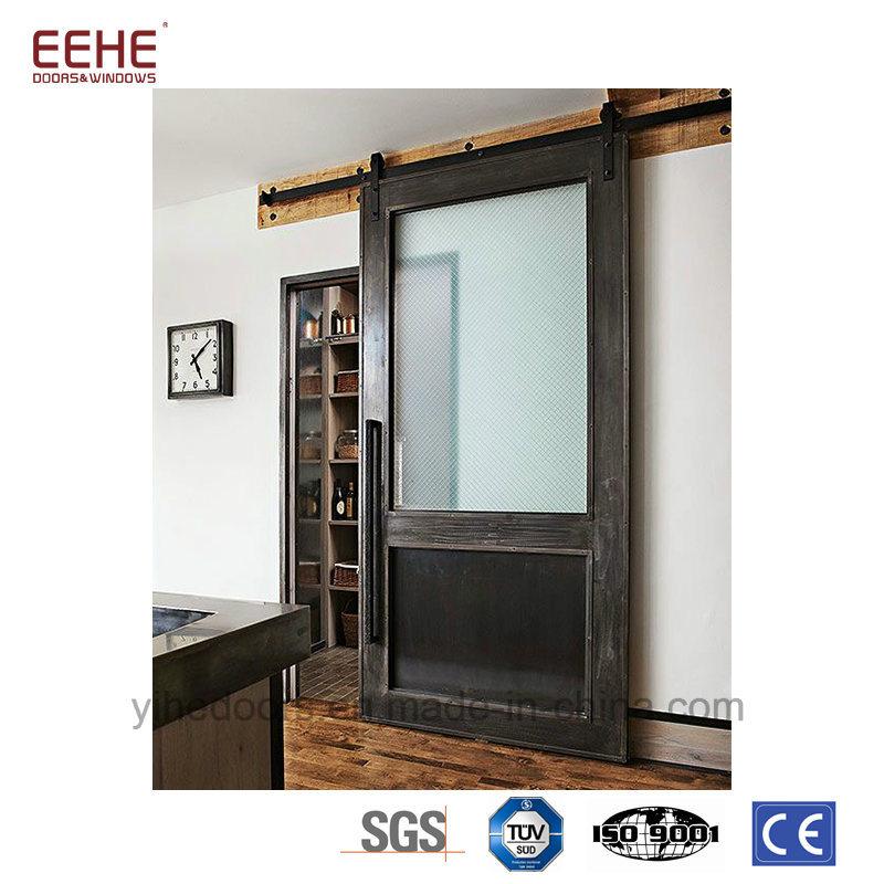 China Interior Glass Sliding Barn French Door Slab Wood Door Design