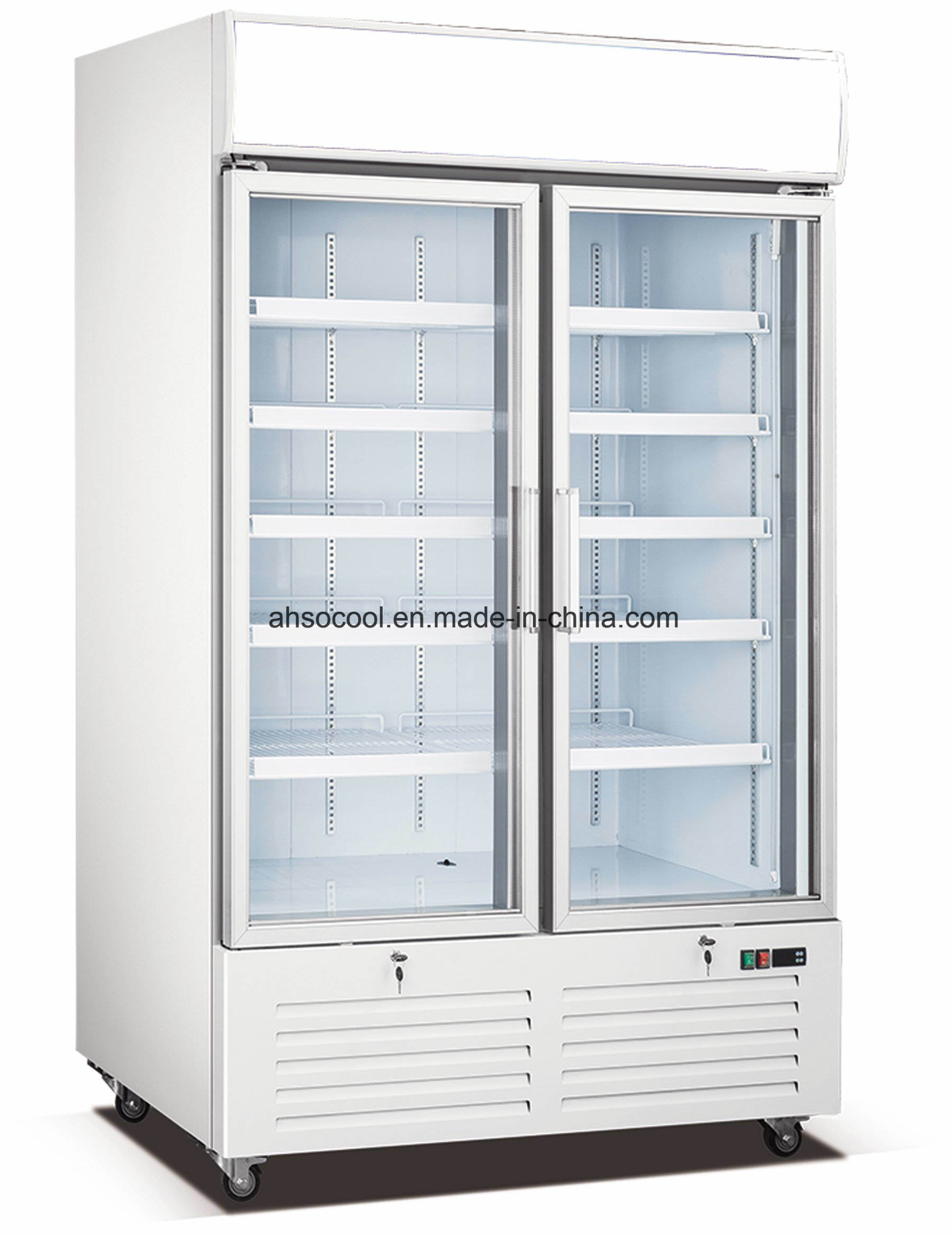 China Double Glass Door Freezer For Commercial Use  China