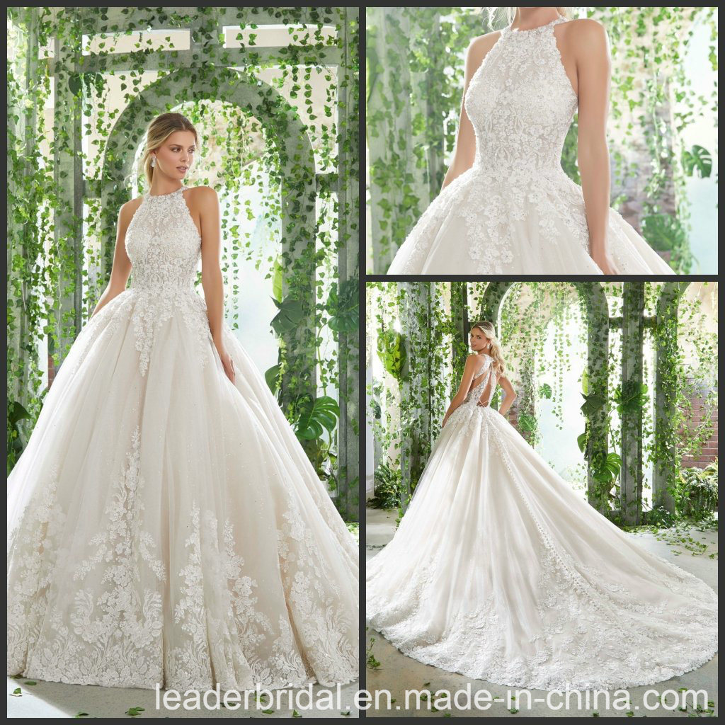 China 2019 Wedding Ball Gown Lace Halter Glitter Bridal