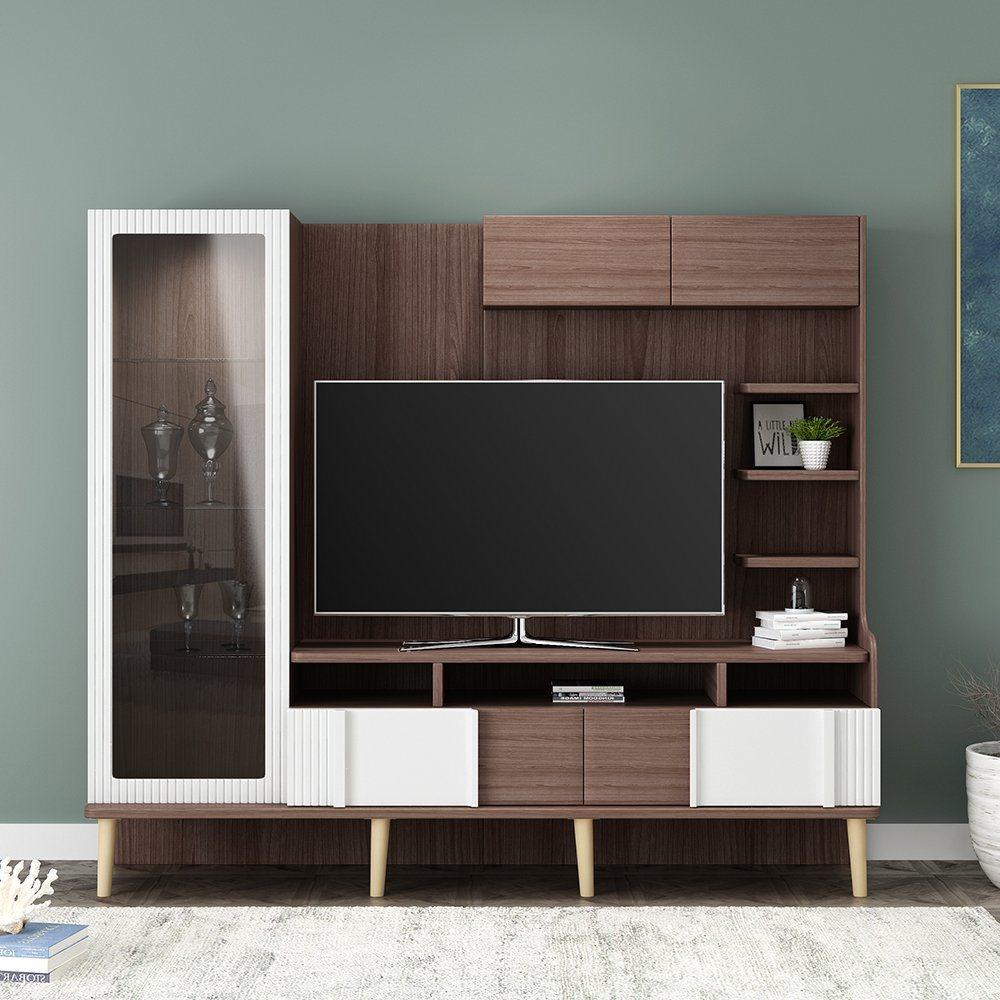 China Modern Living Room Furniture, Living Room Tv Wall Design Wood
