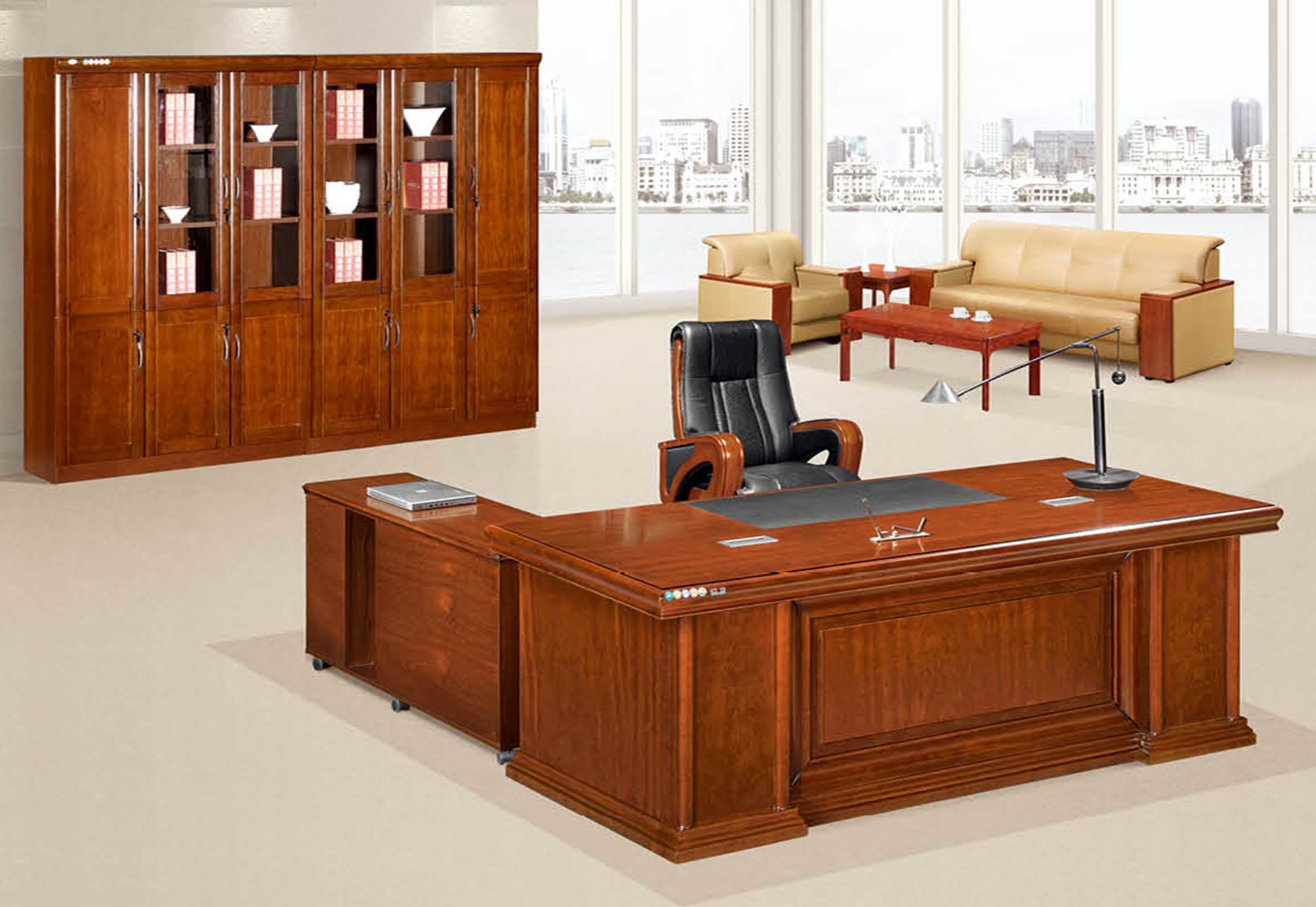 Antique Wooden Boss Executive Desk Office Furniture