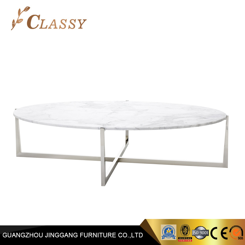 China Oval Shape Marble Table Stainless Steel Base Living Room Coffee Table China Living Room Furniture Coffee Table