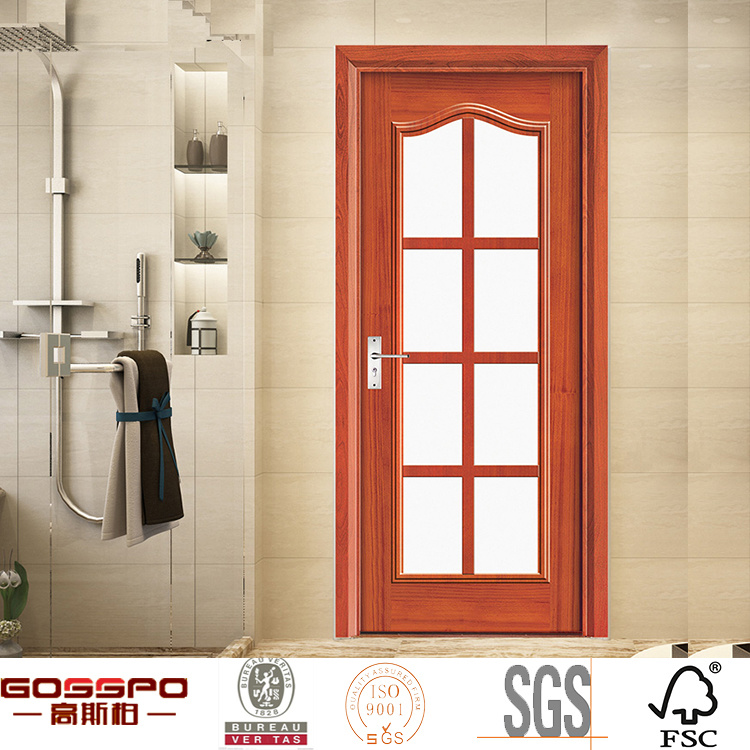 China Latest Design Kitchen Entry Exterior Wood Frame Glass Door Gsp3 004