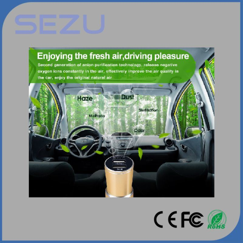New Model Factory Wholesale USB Car Charger with Air Purifier Emergency Hammer