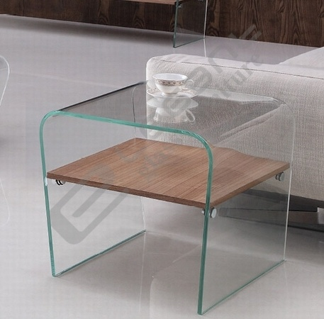 Rectangle Clear Glass Coffee Table with Chou-Heung Veneer Solid Wood pictures & photos