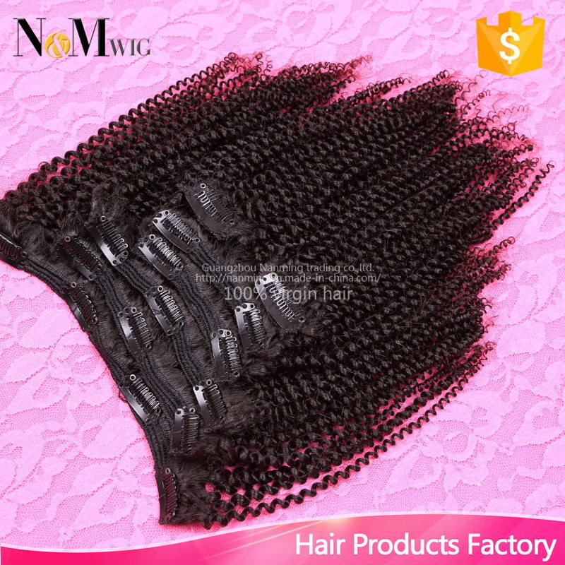 China Kinky Curly Clip In Human Hair Extensions Dubai 7pcsset