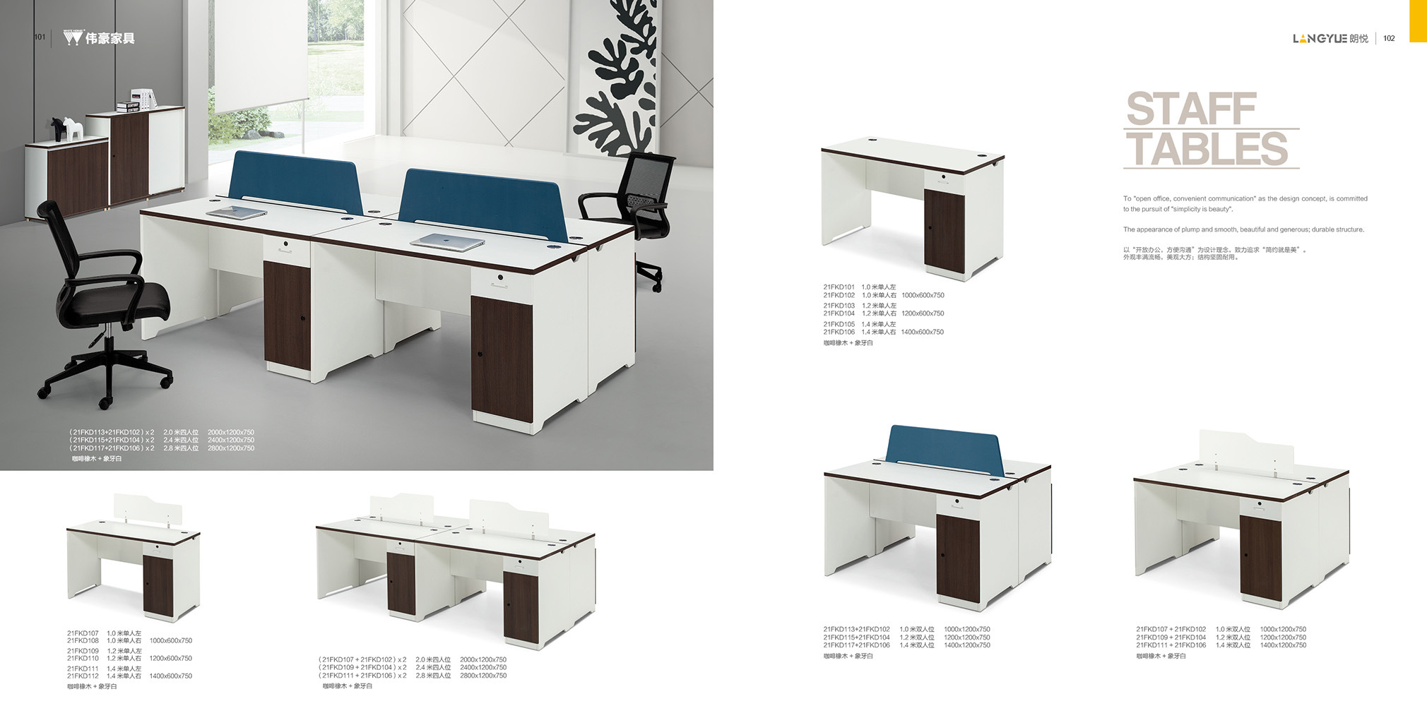 China Simple Design Melamine Office Furniture 1m Staff Desk Table Right Return With Screen