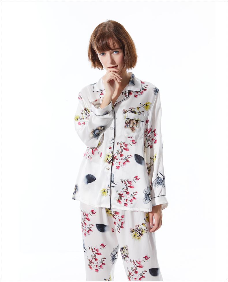 125a8d16f5 China Fashion Custom Print Silk Pajama Set Long Sleeve Sleepwear ...
