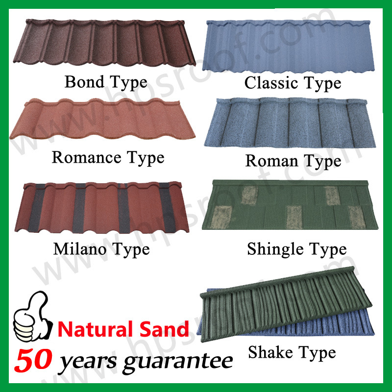 China Roof Sheet Roofing Material Stone Tile 50years