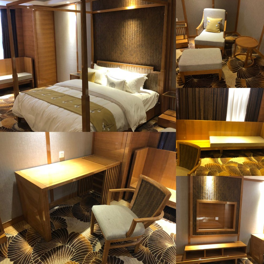 [Hot Item] Luxury Modern Design Customized Wooden King Size Hotel Bedroom  Furniture (GLBD-008)