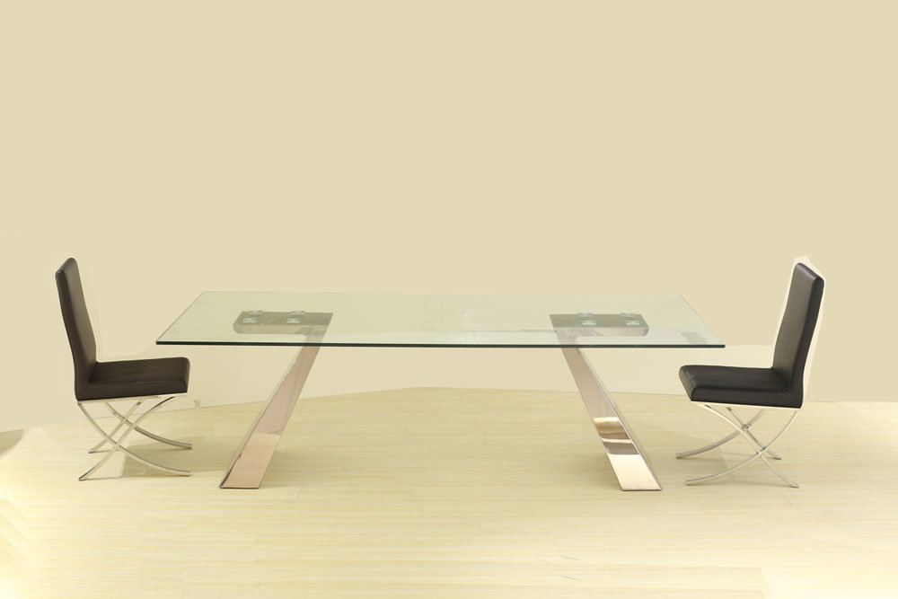 [Hot Item] Stainless Steel Leg in Glass Top Dubai Dining Tables and Chairs