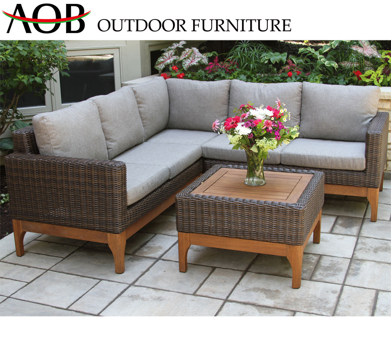 [Hot Item] Best Selling Outdoor Furniture Rattan Wicker Brown L Shape Sofa  Set with Back Pillow