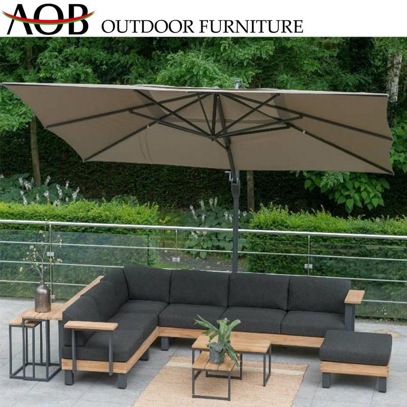 [Hot Item] Chinese Modern Outdoor Garden Home Deck Livingroom Furniture  Patio Modular Teak Wood Corner Sofa Furniture