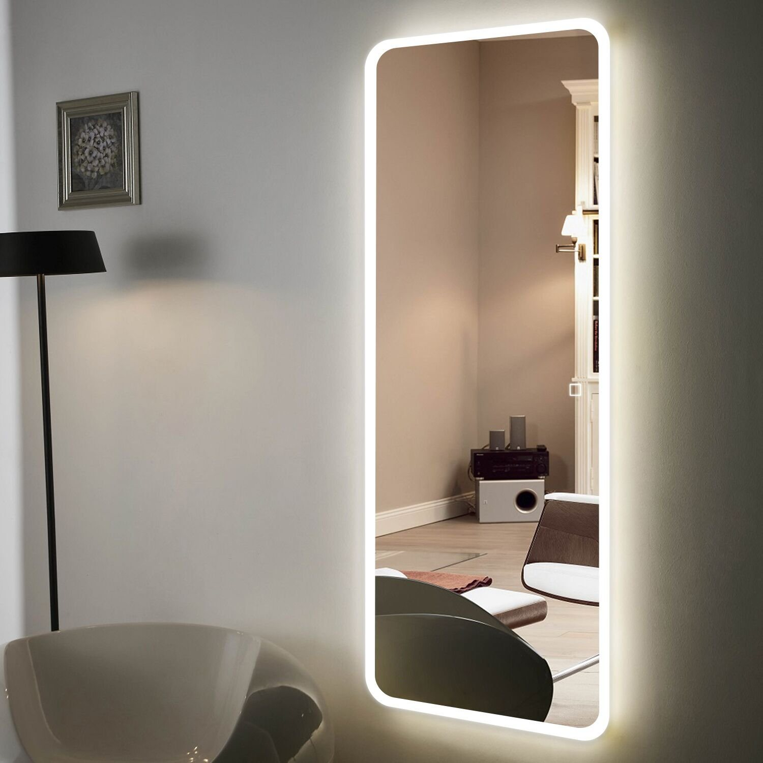 China 5mm 24inx55in Wall Mounted Full Length Bathroom Led Lighted Anti Fog Mirror Photos Pictures Made In China Com