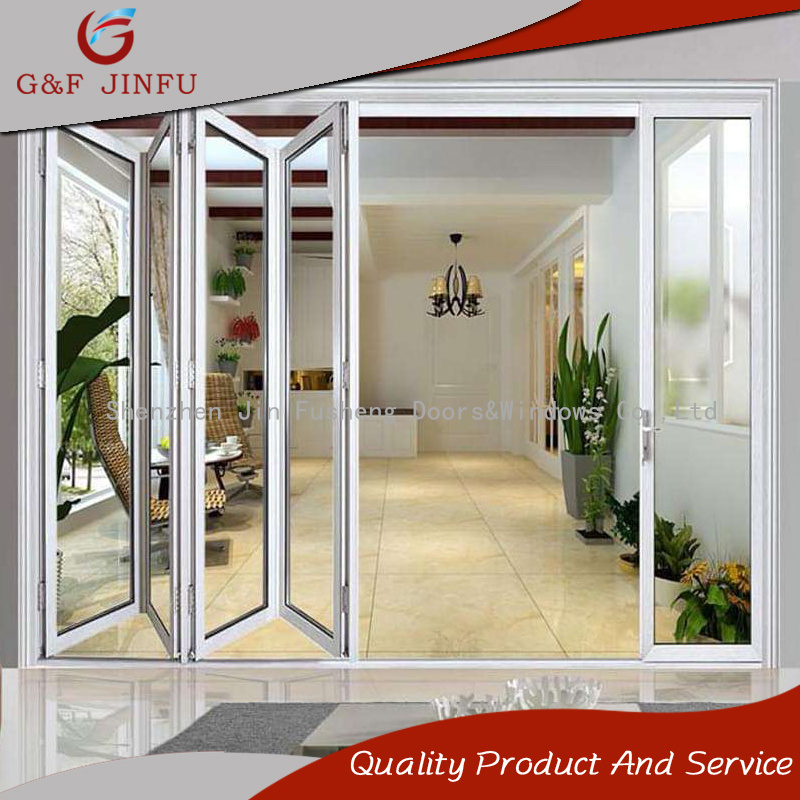 China Powder Coated Toughened Glass Aluminium Folding Door For