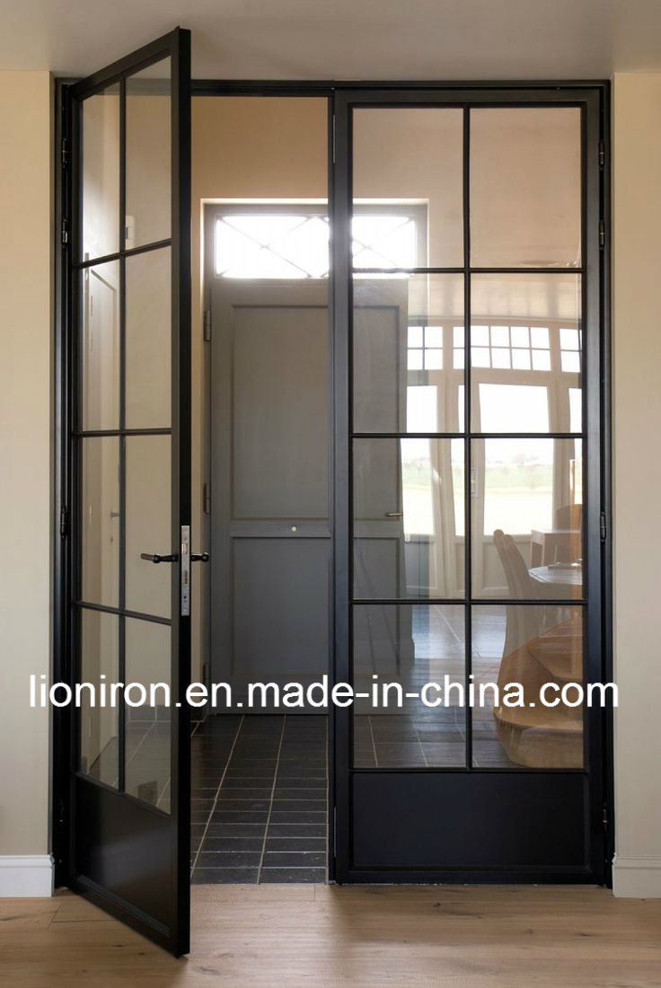 China Interior Glass Sliding Barn Door French Iron Door For Dining