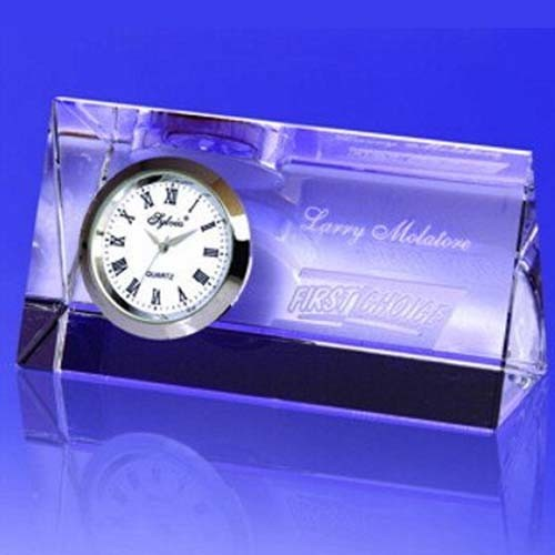 Glass Crystal Prism Crystal Clock with Logo