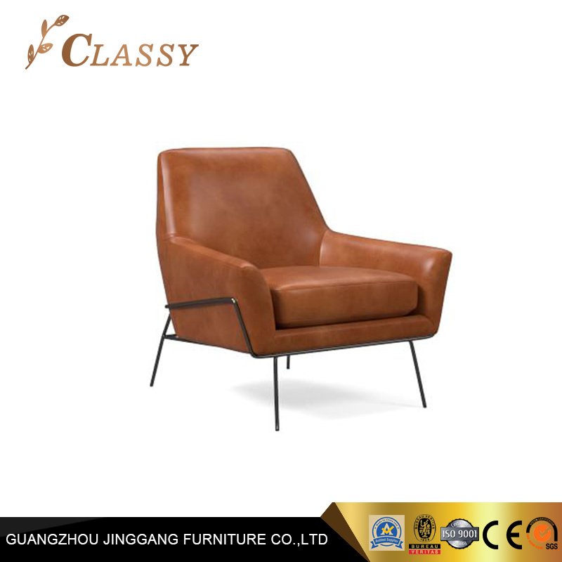 Peachy Hot Item Brown Leather Leisure Armchair Modern Accent Chair Furniture Onthecornerstone Fun Painted Chair Ideas Images Onthecornerstoneorg