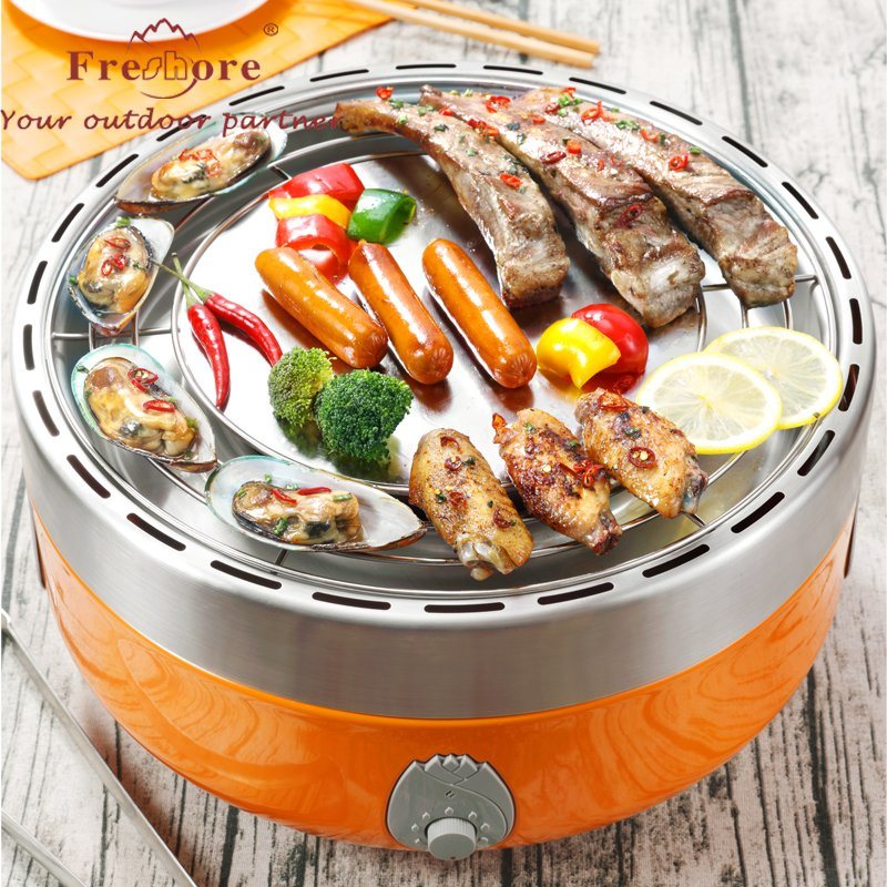 China Orange Korean Design Charcoal Electric Grills Indoor Outdoor With Heat Resistance Anese Grill Smokless