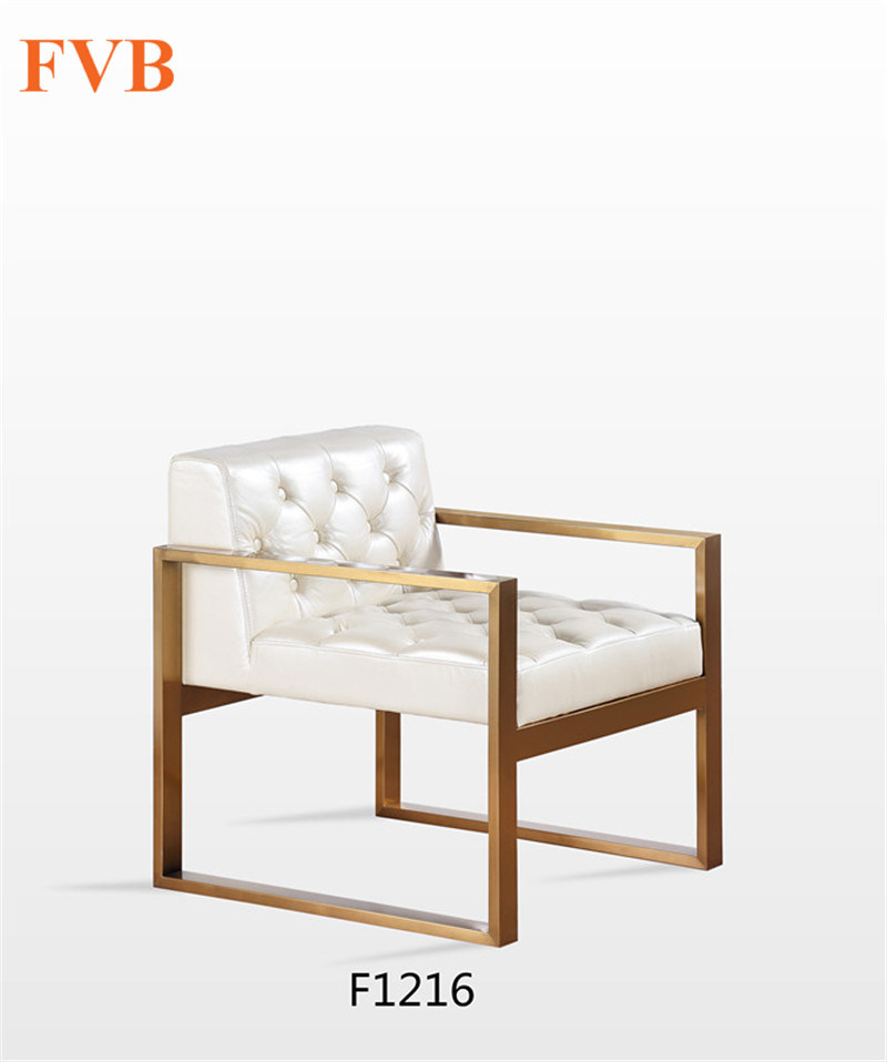 Hot Item Nordic Simple Iron Sofa Chair With Light Drawing Copper