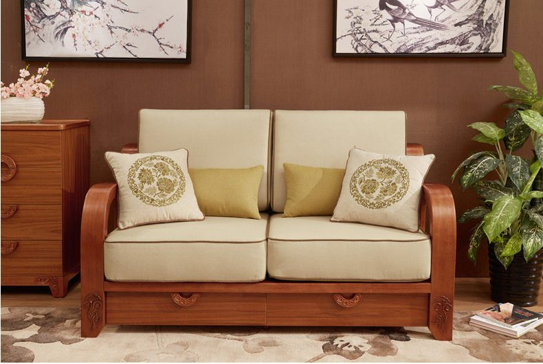 China New Model Fabric Cushion Living Room Wooden Sofa Set Photos