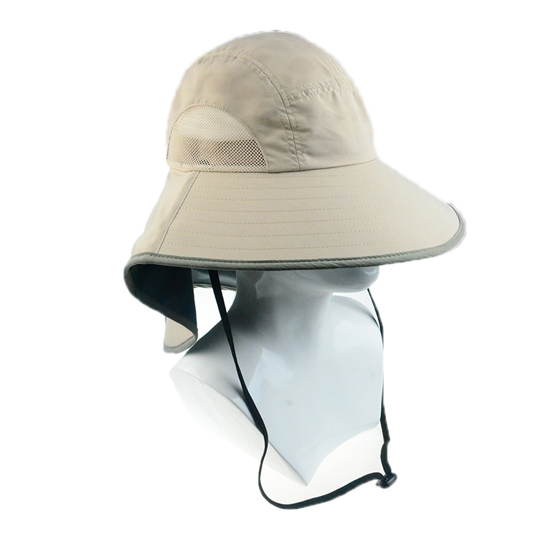 940ba13e Custom Leisure Cap Polyester Wide Brim Sun Protection Hats with Ear Flap