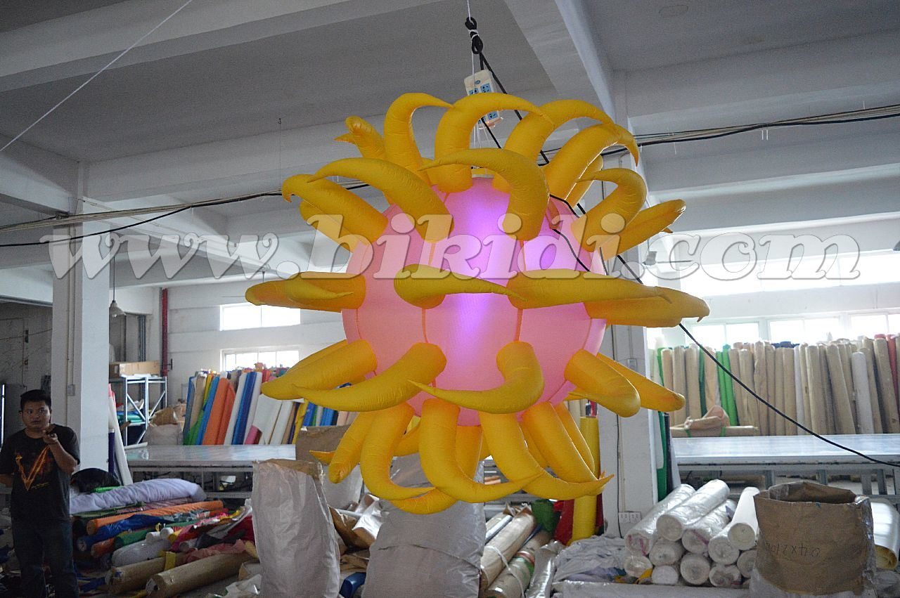 Hot Item Inflatable Ceiling Decoration Balloon Inflatable Lighting Ball With Horns C2024