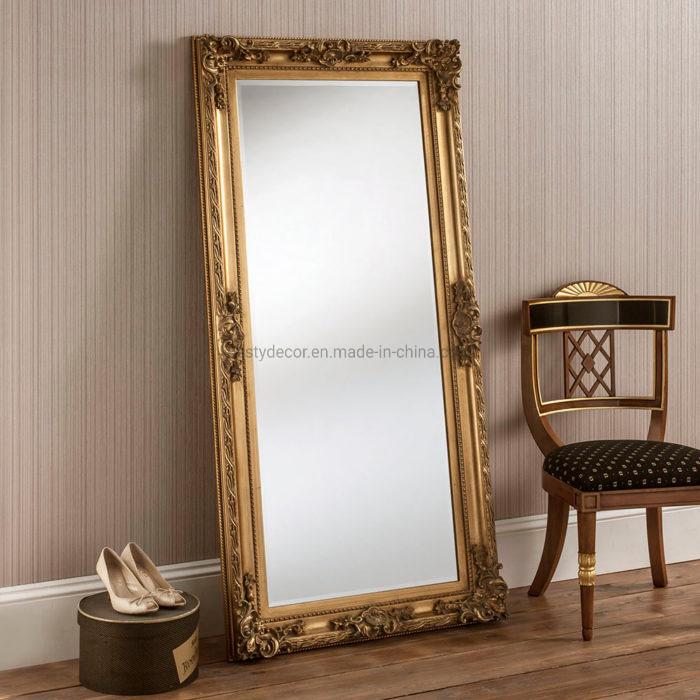 China Extra Large Gold Wood Floor Big, Baroque Gold Floor Mirror