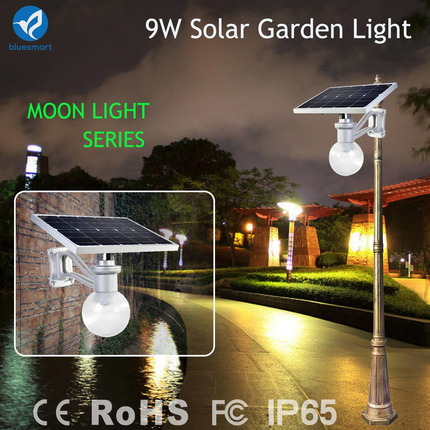 China 9W Solar Outdoor LED Street Light Garden Lamp with Motion ...