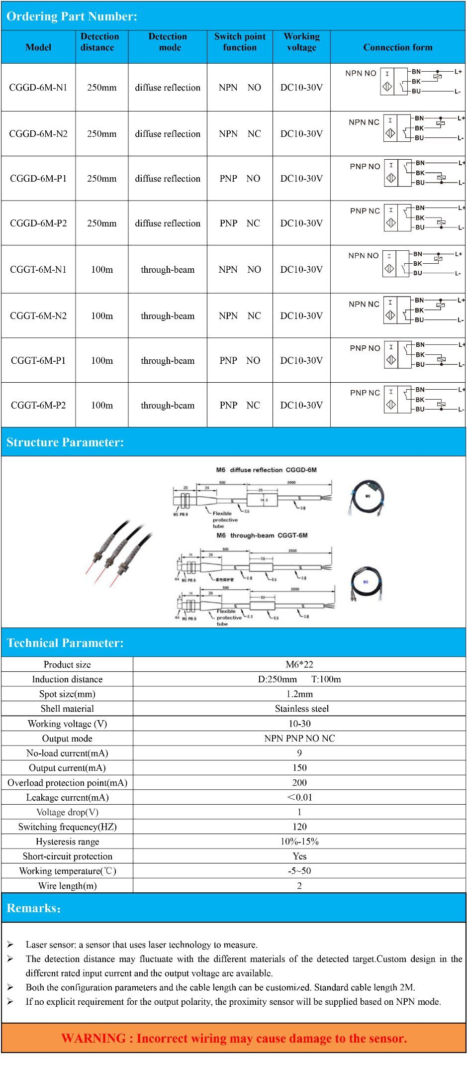 Npn Laser Sensor Wiring Schematic Diagrams Pnp Prox Switch Diagram China M6 Miniature Through Beam Reflection 100m Inductive Proximity