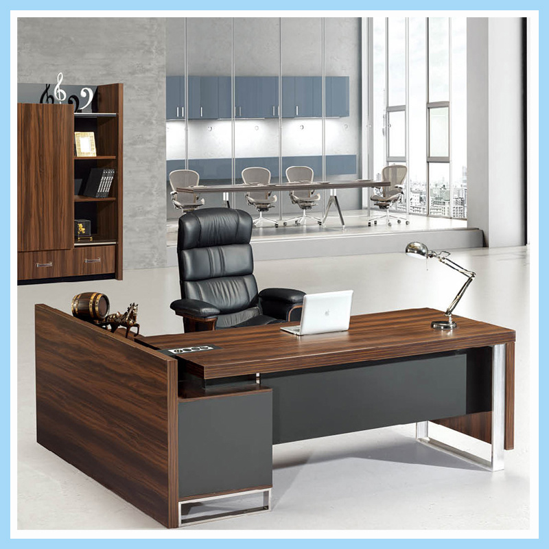 China Metal Frame Wooden Desk Top Office Table Executive For Furniture