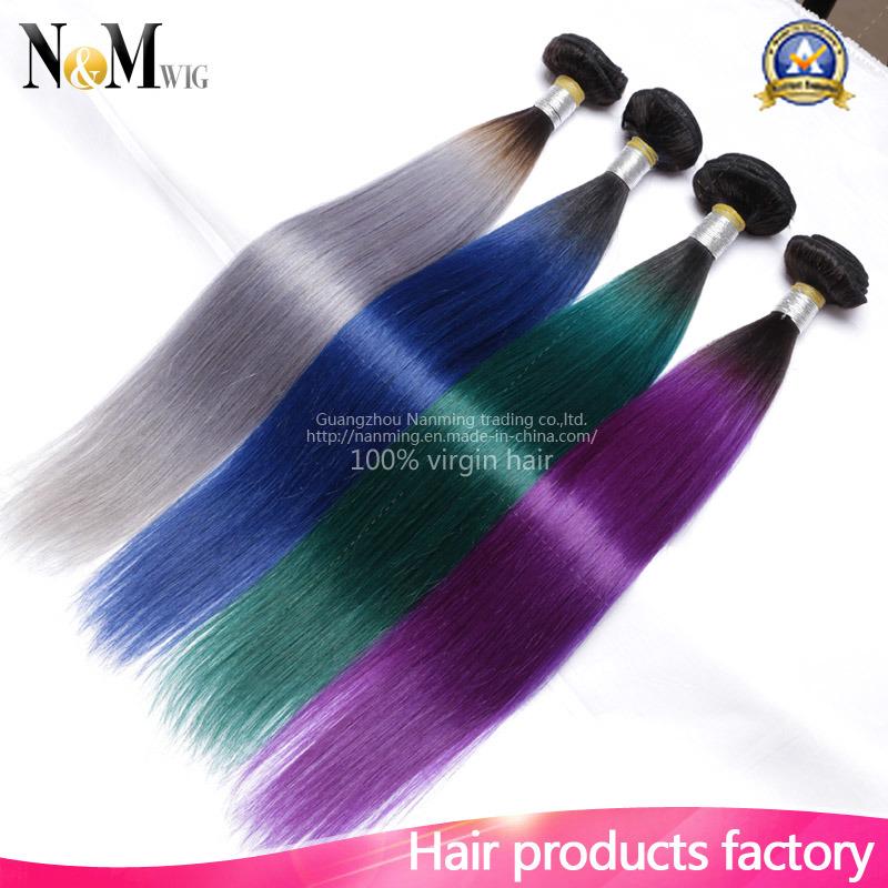 China Burgundypurpleredgreengrey Ombre Human Hair Weave Straight