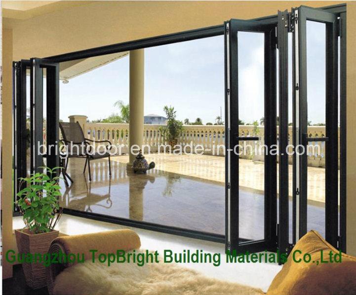 China Aluminium Outdoor Folding Soundproof Frosted Glass Door Balcony Design Aluminum