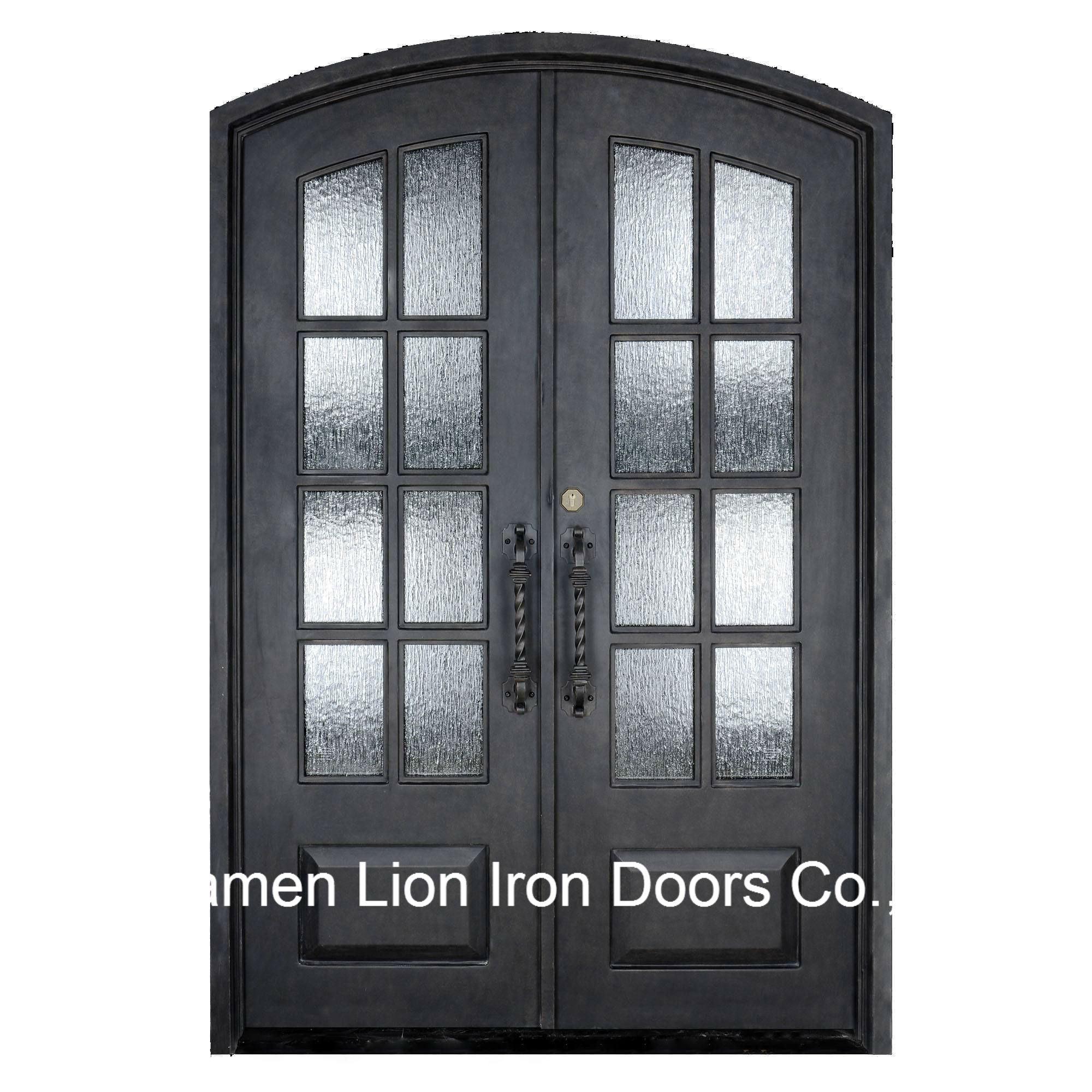 China European Exterior Security Sliding Wrought Iron Entry Doors