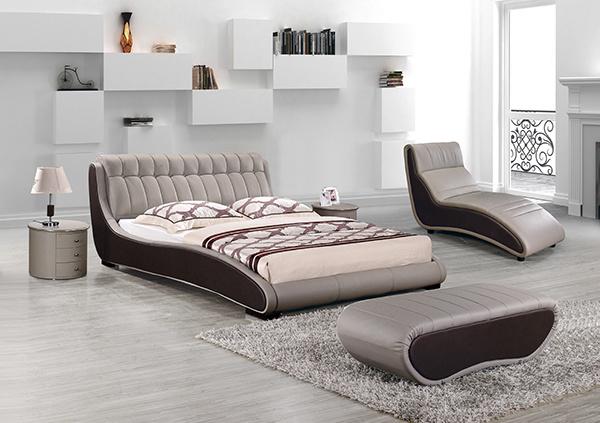 [Hot Item] Neoclassic Style Bedroom Furniture Design Leather Vintage Wooden  Bed Frame