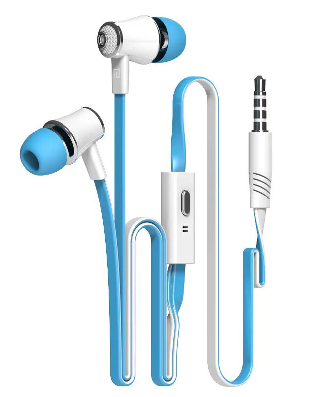 China in-Ear Earbuds Flat Cable Earphone with Mic for Mobile Phone ...